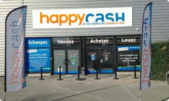 La vitrine d'un magasin Happy Cash